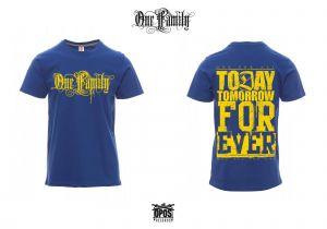 One Family - Shirt blau / gelber Druck