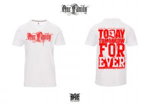 One Family - Shirt weiß / roter Druck