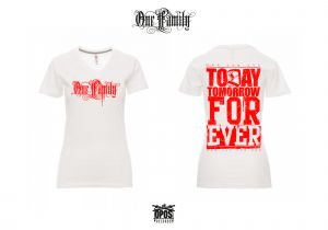 One Family - V-Ausschnitt Damenshirt weiß