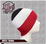 Schwarz - Weiß - Rot - Mütze / Beanie